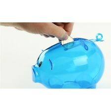 """NEW BLUE PLASTIC PIGGY BANK - SAVE COINS AND CASH FUN FOR KIDS 5 1/2"""" x 3 3/4"""""""
