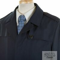 Brooks Brothers StormSystem Trench Coat 42 L in Navy Blue Loro Piana Wool