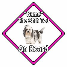 Personalised Dog On Board Car Safety Sign - Shih Tzu On Board Pink