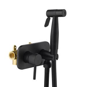 Toilet Hand held Bidet Spray Shattaf + Hot & Cold Water Valve Mixer with Holder