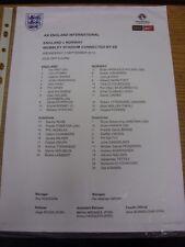 03/09/2014 Colour Teamsheet: England v Norway [At Wembley] (minor folding/creasi