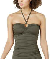 MICHAEL KORS Women's Logo Ring Halter Tankini Top sz M Medium Ivy Green Swimwear