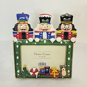 Metal Nutcracker Photo Frame for 4x6 Photo 3 Figural Nutcrackers Design