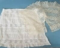 Antique Lace Trim Edging Ayrshire Embroidered Panel Eyelet Doll Collar VTG Lot