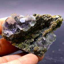 Natural transparent blue fluorite green crystal specimens from fujian, China e32