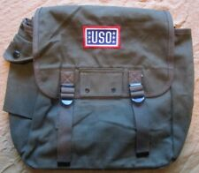 US MILITARY USO UNITED SERVICE ORGANIZATIONS OD GREEN CANVASS BACKPACK/SATCHEL.