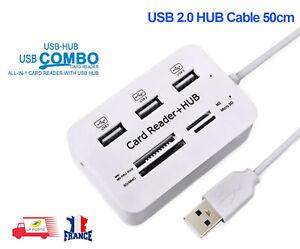 3 ports USB Hub Combo 2.0 haute vitesse SD/MMC/M2/MS Pro Duo, micro SD