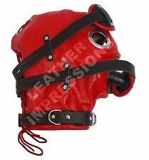 REAL LEATHER BONDAGE LOCKABLE MASK GIMP HOOD CUIR MASKE SLAVE BDSM FETISH!!