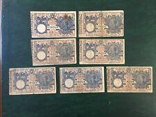 REGNO LOTTO 7 BANCONOTE LIRE 5 VITTORIO EMANUELE III numismatica SABAUDA