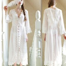 Sexy Lace Long Pajams Dress Nightgown Sleepdress Underwear Lingerie Robes White