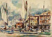 Acquerello Barche a Vela in Porto Ventimiglia Liguria Cinque Terre Mediterraneo