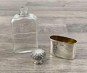 Antique Sterling Silver Hallmarked Victorian Silver Hip Flask, 1901 London