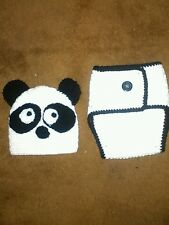 Crocheted hat and diaper cover panda set