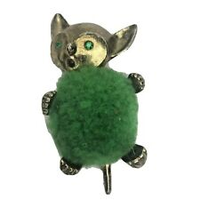 Vintage Pin Cushion Mouse Jeweled Eyes and Mouth Antique Metal Original