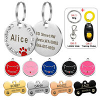 Bling Personalised Pet Dog ID Tags Round Bone Cat Name Collar Disc Engraved Free