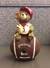 Football Bear Sitting On Ball Coin Bank w/ Hat