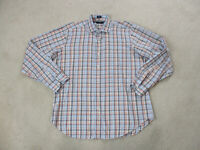 Peter Millar Button Up Shirt Adult Large Blue Orange Plaid Casual Mens