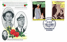 St VINCENT GRENADINES 1987 QUEEN 40th WEDDING ANNIVERSARY OFF FIRST DAY COVER