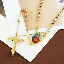 Womens Mens Fashion Cross Beed Necklace With Mary Pendant Yellow Gold Filled