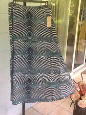 MICHAEL KORS Satin SLITS MAXI SKIRT Animal Print Lined Real Navy Sz 6 NWT$120