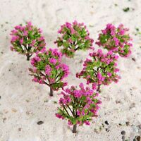 20Pcs 1:100 HO Scale Peach Model Trees With Flower For Park Railroad Scenery