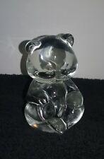 "FENTON Clear Crystal Art Glass Teddy Bear Figurine 3.5"" HEAVY"