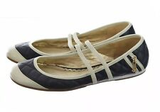Juicy Couture Quilted Faux Leather Mary Jane Flats Ballet Slippers Blue Sz 9