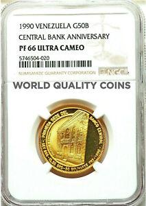 Venezuela 1990 Gold 50 Bolívares 50th Anniversary of the Central Bank NGC PF66