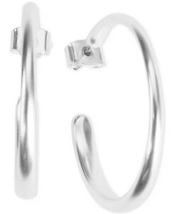 lucky brand silver tone medium c hoop earrings new with tags