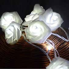 20LED White Rose Flower String Lights Fairy Wedding Christmas Party Garden Decor
