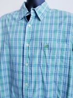 Rewire Long Sleeve Slim Fit Large Blue Green White Plaid Spring Colors Shirt
