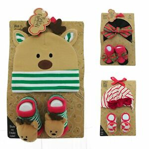 Baby Essentials Infant Christmas Hat and Rattle Socks Set 0 - 6 Months