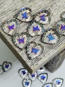 VTG 20 Small Iridescent Butterfly Hearts Crystal Glass Intaglio Beads Pendants
