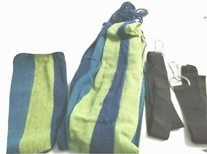Hammock New Cotton Rope Hanging Camping Canvas Blue Green Heavy Blk Strap & Snap