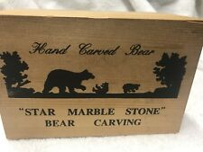 Star Marble Stone Hand Carved Grizzly Bear, CRYSTALLINE LIME STONE, FREE SHIP!