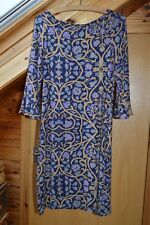 Monsoon Floral Dress, Size 10, Navy, Purple, Mustard and Blue, Viscose.