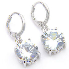 Wedding  Jewelry Natural Round White Fire Topaz Square  Silver Dangle Earrings
