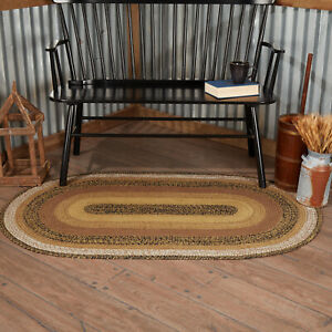 VHC Kettle Grove Black Tan Browns Ivory Country Oval Braided Rug W/Pad