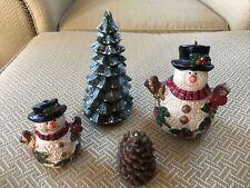 Vintage Christmas Wax Candles (Gurley?) 4pcs Snowmen, Tree, Pinecone