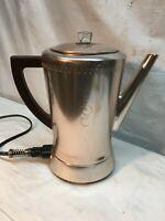Vintage Flavo Max  Electric Percolator Coffee Maker Pot 1940's  8 Cup Glass nob