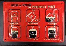 Guinness - How To Pour The Perfect Pint - Embossed Metal Bar Decor Wall Sign