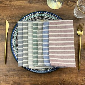 Soft Broad Striped Linen Cotton Dinner Cloth Napkins - Set of 12 (40 x 30 cm)