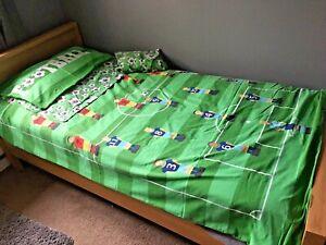 DUNELM Green Mix Football Single Duvet Set-Cover, Fitted Sheet, 2 x Pillow Cases