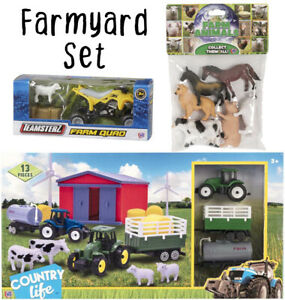 Farmyard Playset 20 Piece - Kids Toddler Childrens Toy Play Set Animals Tractor