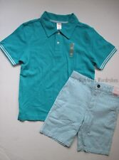 Gymboree Spring Dressy Easter Blue Polo Shirt & Pinstripe Shorts Set Boys 10 NWT