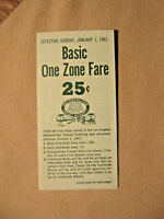 Los Angeles MTA - Fare Sheet - Basic One Zone Fare 25 cents - Jan 1, 1961