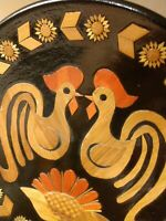 PERFECT ROOSTER PLATE, Inlaid Wood, Black Lacquer, USSR VINTAGE