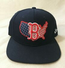 Boston Red Sox Canvas Dark Blue American Flag Snap Back Hat Ball Cap Excellent