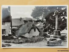 Devon LUSTLEIGH The Cross & Watering Trough - Old RP Postcard by Harvey Barton