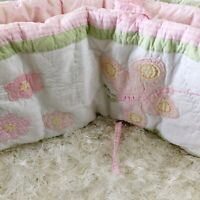 Pottery Barn Kids Crib Bumper Baby Girls Pink Green Gingham Butterfly Floral